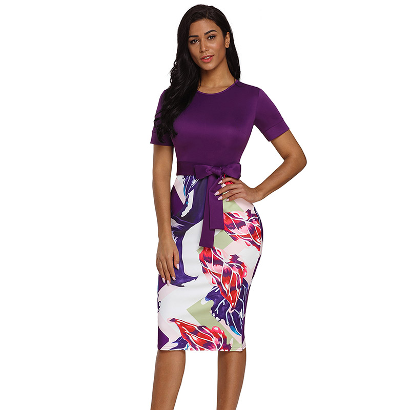 Purple-Bowknot-Short-Sleeve-Printed-Sheath-Dress-LC610096-8-1