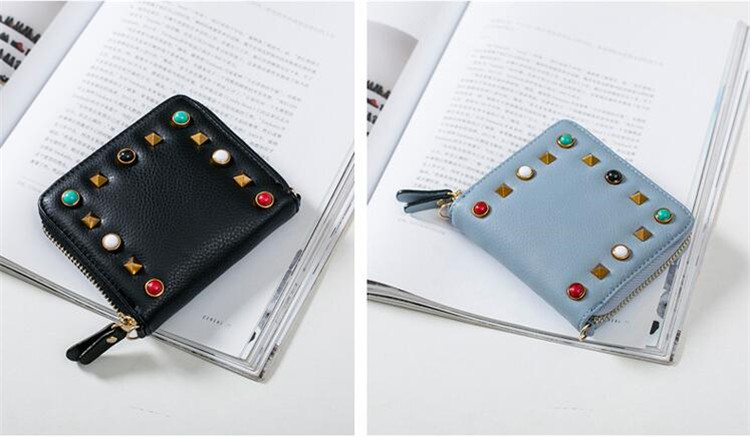 MJ Women Wallets Fashion Colorful Rivets PU Leather Zipper Coin Purse Card Holder Short Wallet with Chain Shoulder Strap (50)