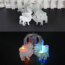 HOT Wapiti Elk Deer 10 LED String Lights White Iron Material Battery Operated Fairy lights Christmas Tree House Decor(China)