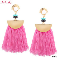 Tassel Earrings Drops For Women Jewelry Vintage Big Fan Fringe Earrings Pink Black Red Blue Colors(China)