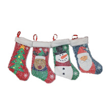Small sequins Christmas stocking xmas decorations Children gift candy bag santa claus socks Christmas tree ornaments santa sacks(China)