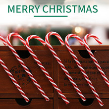 2017 New Arrival  6Pcs/bag Plastic Candy Cane Ornaments Christmas Tree Hanging Decorations For Festival Party Xmas