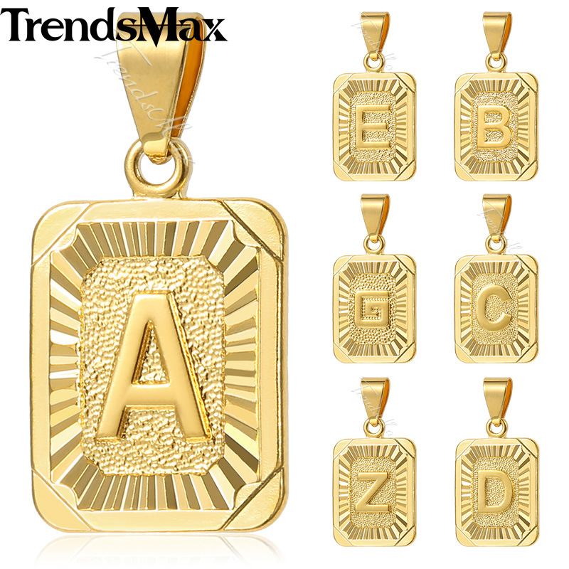 Trendsmax Mens Pendant Necklace Initital Capital Letter Charm Gold Filled Fashion Women Chain Jewelry GP36(Hong Kong)