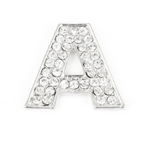 X Autohaux Bling Rhinestones Inlaid Silver Tone Letter A Shaped Car Sticker Decoration