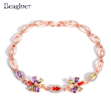 Beagloer Rose Gold Color Flower Charms Bracelet accessories For Women Multicolor CZ Bracelets & Bangles drop shopping S050045(China)