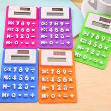 Portable Foldable Silicone Mini Calculator Solar Energy Soft Keyboard Creative School Office Escolar Papelaria Color Random(China)