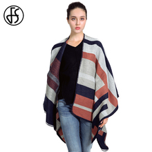 FS Cashmere Poncho Scarf Cape Shawls Wraps Wool Winter Warm Thicker Feminino Inverno Coat Women Striped Pashmina Luxury Scarves(China)