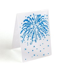 DIY Plastic Blue Fireworks Cake Fondant Mold Cookies Chocolate Molds Embossed Sugar Craft Sheet Baking Decorating Tools Gadgets