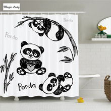 Shower Curtain Clip Bathroom Accessories Cheerful Panda Bamboo Branch Children Art Green Black White 180*200 cm