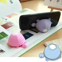 Cute Phone Holder Stand Silicone Turtle Earphone Headphone Winder Cable For I-phone Sam-sung X-iaomi Light Purple Color