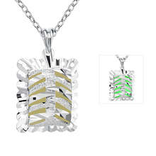 Lureme Hot Sale Silver Plated Jewelry Glow in the Dark Luminous Square Cake Pendant Necklace for Women (01003927)