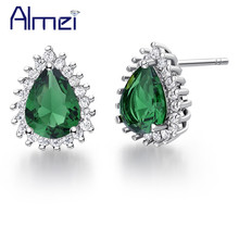Almei Online Shopping India Silver Color Women Stud Earring Love Heart Green Pink Blue Crystal Earrings Jewelry 5% Off R815(China)
