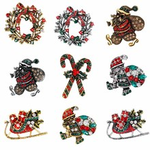 Christmas Brooches Rhinestone Santa Claus Tree Stockings Snowman Bell Scarf Pins Brooches For Women Fashion Jewelry Pin