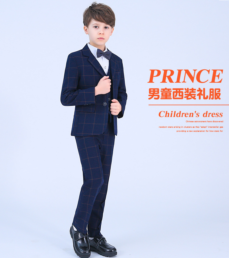 2018 Children blue formal suits boy blazers set teenagers jacket trendy winter clothes kids wedding coat outfits party costume