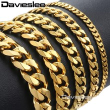 Davieslee Mens Bracelet Chain Stainless Steel Polished Silver Gold Black Tone Curb Cuban Link 3/5/7/9/11mm KBM218(China)