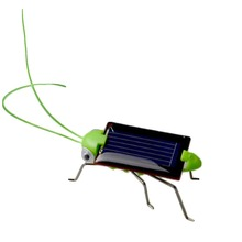 New Kids Solar Toys Energy Crazy Grasshopper Cricket Kit Toy Yellow And Green Solar Power Robot Insect(China)