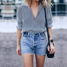 Buy ZANZEA 2018 Women Elegant Blouses V Neck Long Sleeve Striped Shirt Casual Loose Oversized Blusas Plus Size Simple Tops Tee for $7.14 in AliExpress store