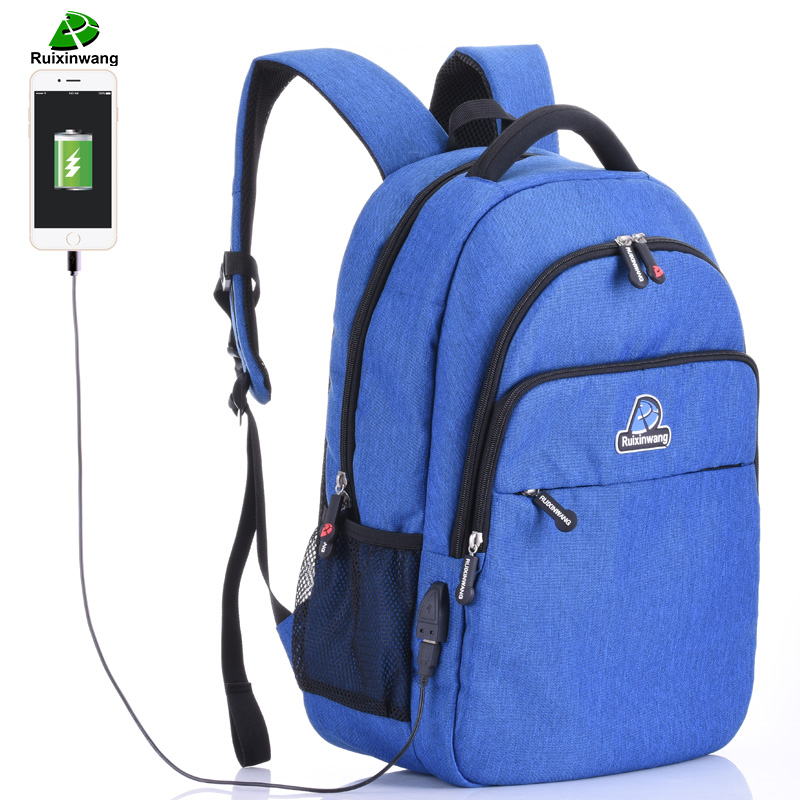 Ruixinwang Men Laptop Backpack USB Charge Women Backpacks School Bags For Boys &amp; Girls Mochila Men Travel Bags<br>
