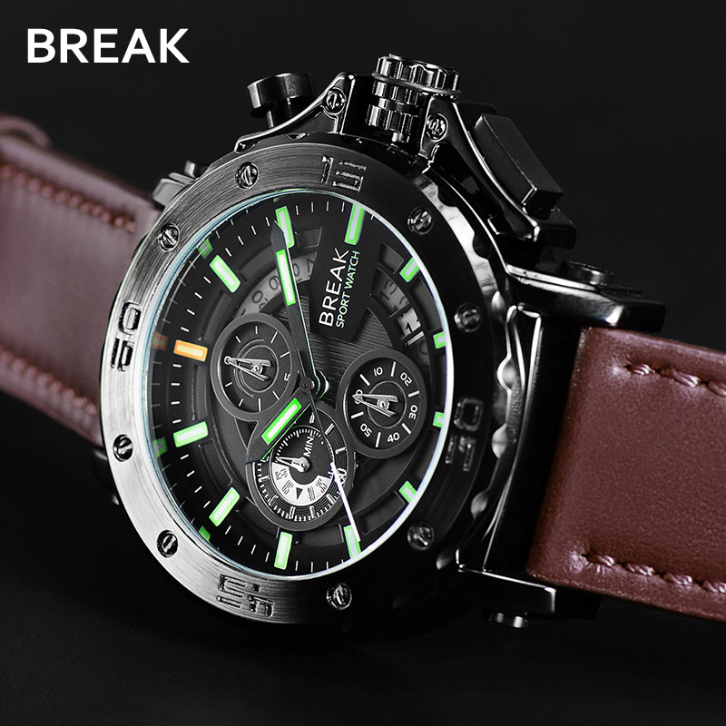 Men Quartz Watch Sport Military Stainless Steel Dial Leather Wristwatches Luminous Business Analog Hours Outdoor Clock Male<br>