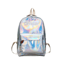 Women Girls Laser School Shoulder Bright Letter Faux Leather Backpack Travel Bag(China)