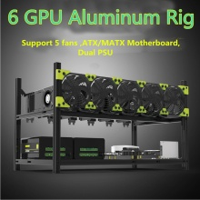 6GPU Aluminum Stackable Open Air Mining Case Computer Frame Rig Bitcoin Ethereum High quality computer case tower For BTC(China)