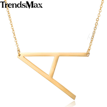 Alfabet Capital Initial Letter Necklaces Pendants A-Z Gold Color Stainless Steel Choker for Women Fashion Jewelry 50cm KPM126(Hong Kong)