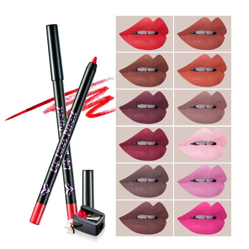 HUAMIANLI 12pcsLot Lipstick Pen Color Beauty Red Lips Baton Matte Lip Stick Waterproof Makeup Pigment Brown Nude Matte Lipstickz2