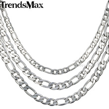 Trendsmax 6/7/9MM Mens Boys Chain Flat Figaro Silver Tone Stainless Steel Necklace wholesale CUSTOMIZE 18-36INCH KN218-KN220