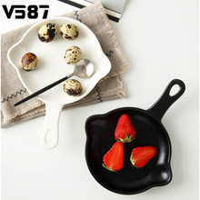 Handled Nonstick Ceramic Baking Pan Tray Dishes Fruits Salad Pasta Round Plates Bakeware Tableware Kitchen Supplies INS Style(China)