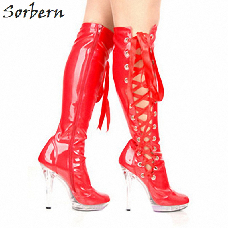 Sorbern Red Hollow Side Lace Up Transparent Perspex Heels Boots Knee High  Women Girls Shoes Custom Wide Calf Size Bota Feminina 135aabb6fcf0
