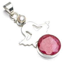 "StarGems(tm) Natural Cherry Ruby and River Pearl Boho Style 925 Sterling Silver Pendant Necklace 2""(China)"