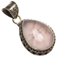 "StarGems(tm) Natural Rose Quartz Handmade Mexican 925 Sterling Silver Pendant 1 1/2""(China)"