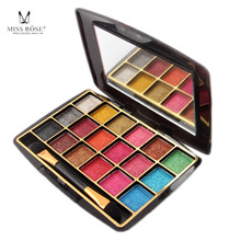 MISS ROSE 18 Colors Pearlescent 3D Colorful Convex Powder Wet Eye Shadow Palette Eyeshadows Nude Palete