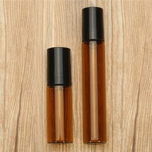 10pcs 10ML 5ML Amber Glass Roll On Bottles For Essential Oils Deodorant Liquid Containers Bottle With Stainless Steel Metal Ball