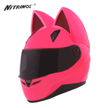 NITRINOS Motorcycle Helmet Women Racing Motorbike Helmet Horns Cat Helmet Full Face Casque Casco Moto Helmet Capacete, Pink(China)