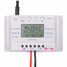 T10 PWM LCD 10A 12V/24V Solar Panel Battery Regulator Charge Controller Three Time Interval(China)
