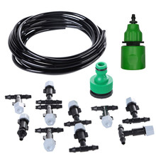 Plastic Water Misting Cooling System Set Garden Irrigation Sprinkler 5M Hose 10 Nozzles Lawn Orchard Atomizer Tools Accessories