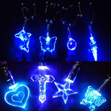 Fancy Led Blue Light Charming Magnetic Pendant Necklace Led Flashing Necklace Party Celebration Masquerade Christmas Gift(China)