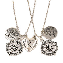 "2pcs/set ""no matter where"" ""mother daughter"" Hollow Compass Love Heart Stitching Pendant Necklace Special Gift Jewelry"