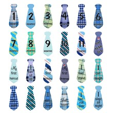 12 Pcs Baby Monthly Necktie Onesie Stickers - Monthly Milestone Belly Necktie Stickers Tie(China)