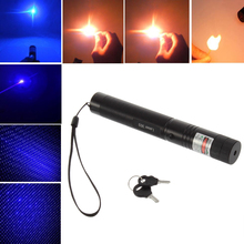 Laser 303 Blue Purple Violet Laser Pointer Pen High Power Adjustable Focus Bright Single Point Starry 2 in 1 Lazer + Safe Key