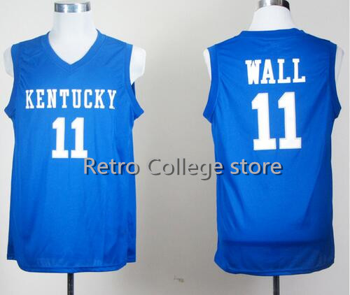 Men Kentucky Wildcats College Jerseys 11 John Wall 23 Anthony Davis 4 Rajon Rondo Jersey Basketball 1 Skal Labissiere Color Blue(China (Mainland))