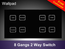 Hot Sales Waterproof 8 gangs 2 way Crystal Black LED Smart touch light switch 172*86mm touch wall switch Free Shipping
