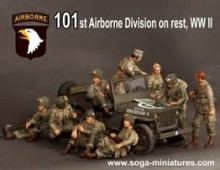 1/35 Resin Figure Model Kit WWII the US 101st Airborne Division 9 people(NO CAR) Unassambled Unpainted(China)