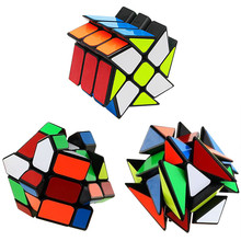 3pcs/set PVC sticker Magic Cube Axis Fisher Twisted Puzzle Cubes Christmas Gifts Black Version Strange Shape Magico Cubo(China)