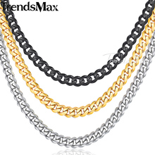 Trendsmax 55cm 60cm Stainless Steel Necklace for Men Men's Chain Gold Silver Black Curb Cuban Link KNM08(Hong Kong)