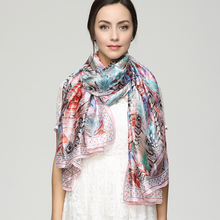 180cm*90cm Women 2017 New Fashion Euro Design Animal Feather wing Printed Colorful Long Silk Scarf Big Shawl sjaals zomer YAU011(China)