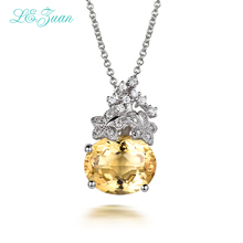I&zuan 925 Silver Citrine Woman Pendants Necklaces 4.75ct Natural Classic Oval Cut Luxury Gemstones Fine Jewelry(China)