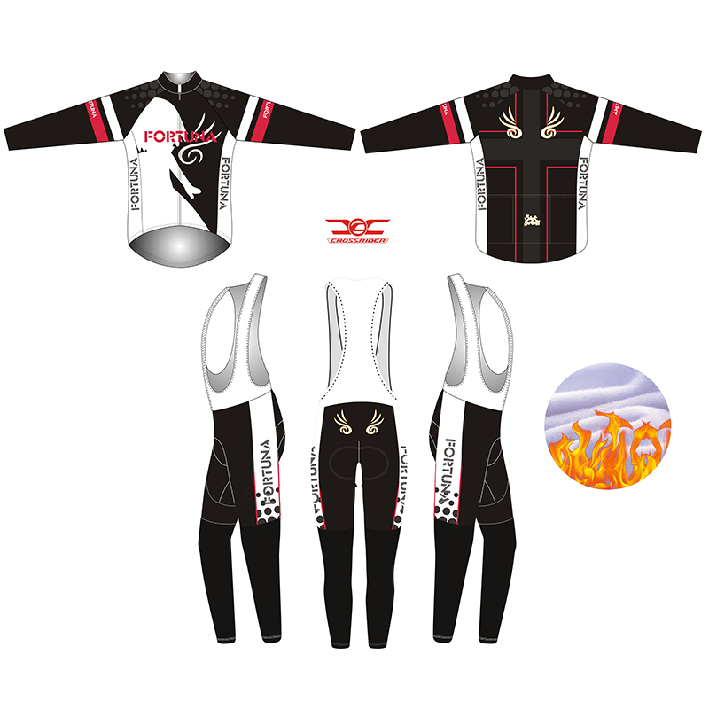 2017 black Fortuna Winter long Men thermal fleece Cycling Jersey Bicycle Wear Bicycle Uniform MTB Bike Clothing Cycling Clothe<br>