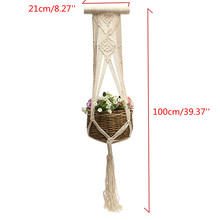 "Beige 40"" Vintage Macrame Plants Hanger Hook Flower Pot Holder String Hanging Rope Wall Art Home Garden Balcony Decoration(China)"
